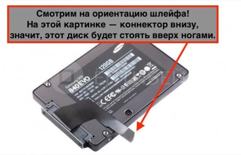 Загибаем шлейф в ту сторону, в которую его загнуть проще. Так определяем ориентацию диска в Mac mini. Самому SSD в целом всё равно, какой стороной он будет стоять.
