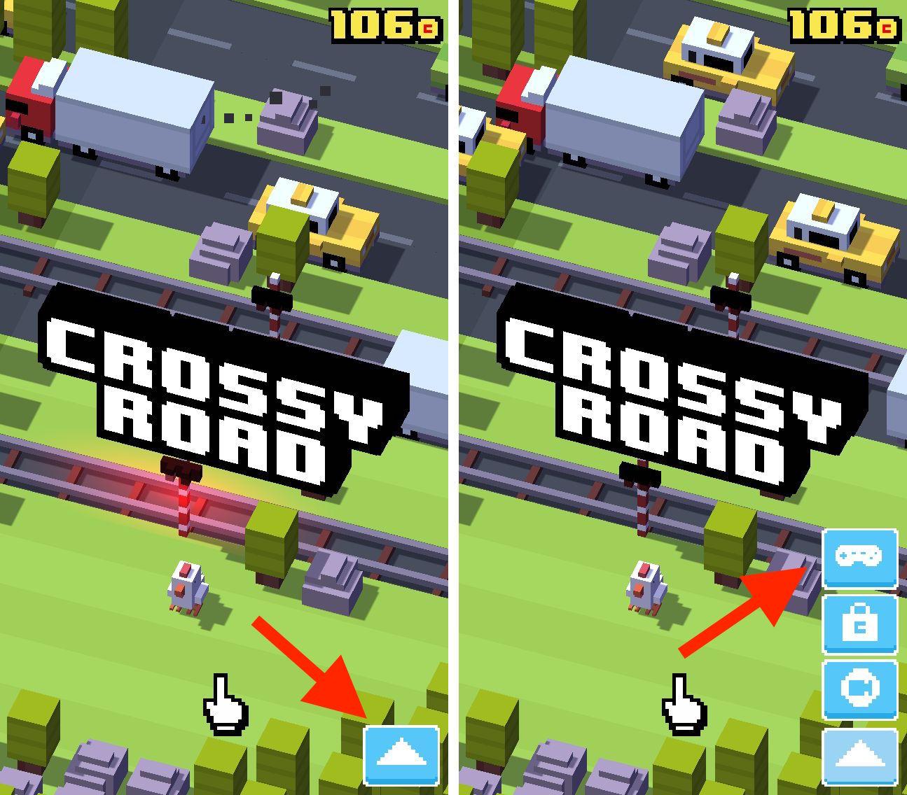 Crossy Road на смартфоне. Если при запуске игры не ткнуть отмеченные кнопки — вы их больше не найдёте. Пока вручную не закроете приложение или не перезапустите смартфон.